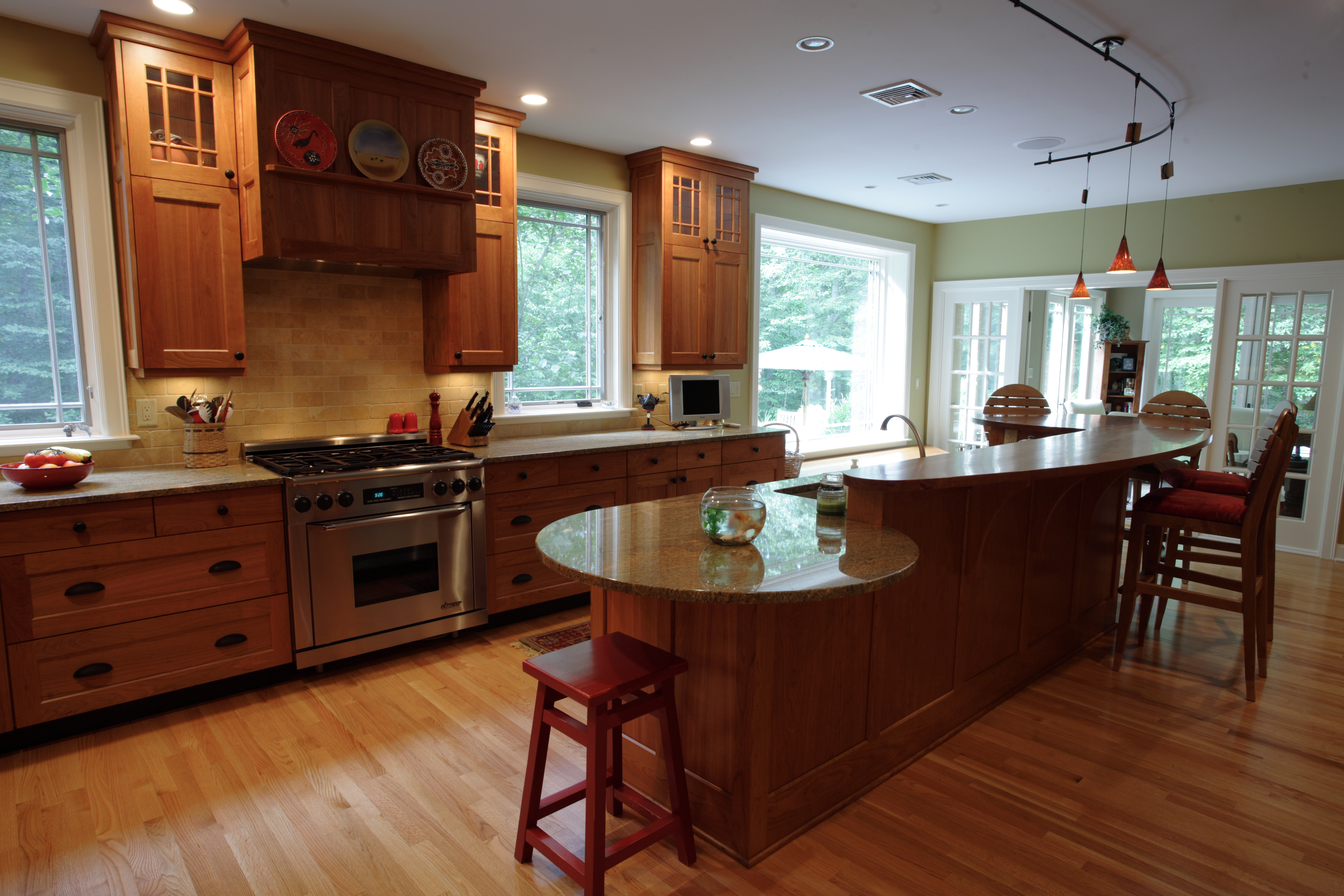 White And Natural Wood Kitchen Cabinets